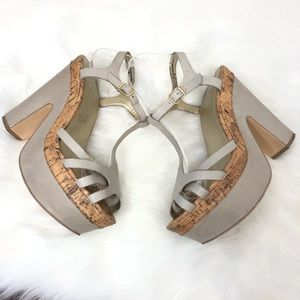 Seychelles Shoes - Seychelles Taupe Leather Chunky Heel Platforms